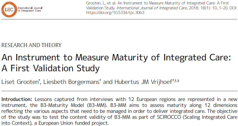 The B3 Maturity Model Validated as a Tool to Measure Maturity of Integrated Care